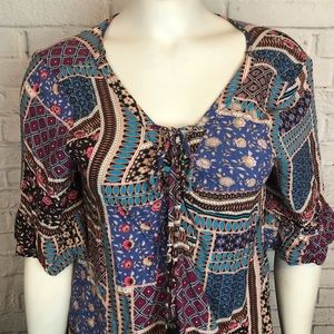 American Eagle Outfitters Tops - 🛒 AE Women's Top Blouse Boho Festival M Patchwork
